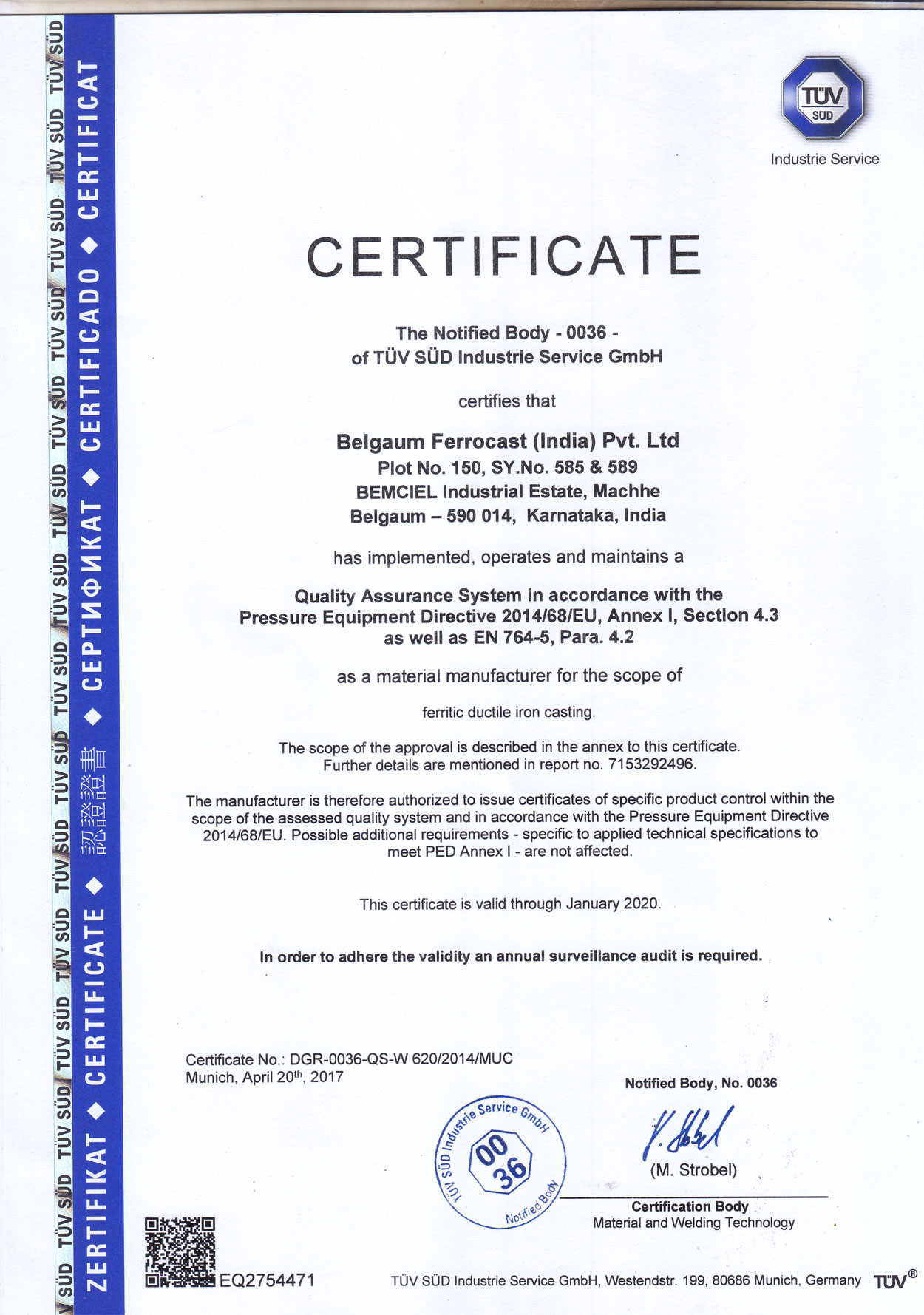 certificate certificates ems qms